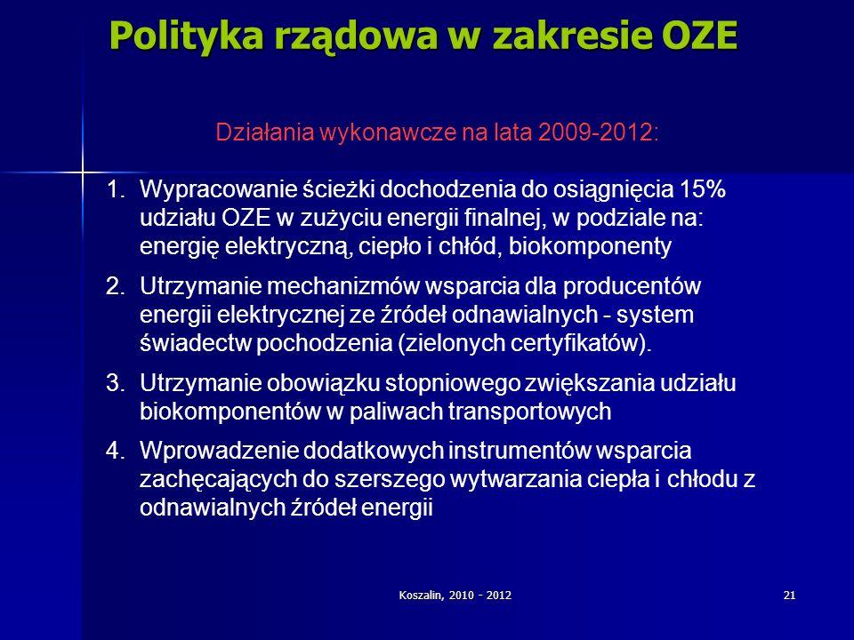 Polityka rządowa w zakresie OZE