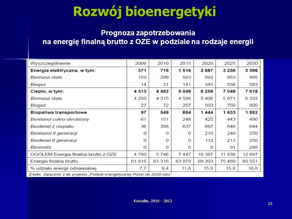 Rozwój bioenergetyki Prognoza zapotrzebowania
