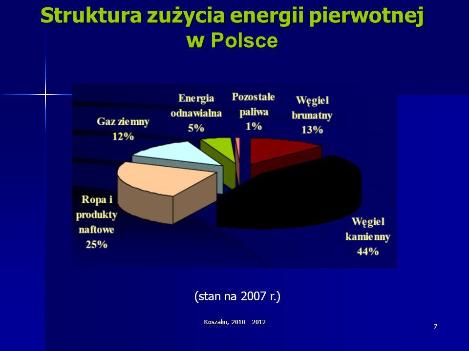 Struktura zużycia energii pierwotnej w Polsce