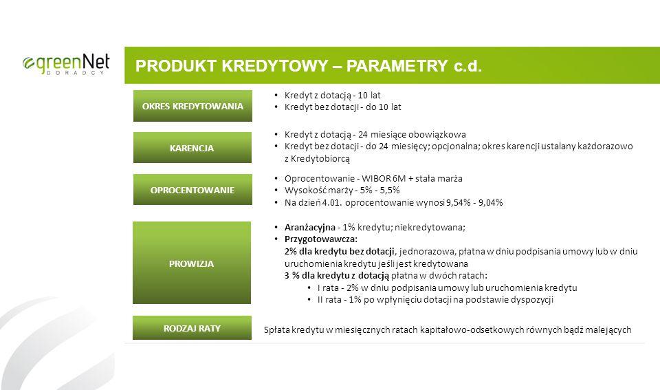 PRODUKT KREDYTOWY – PARAMETRY c.d.