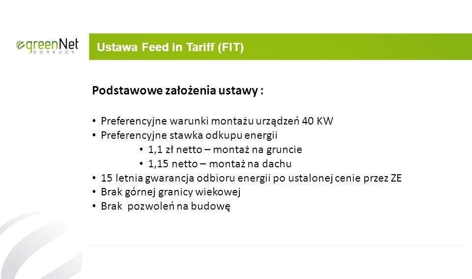 Ustawa Feed in Tariff (FIT)