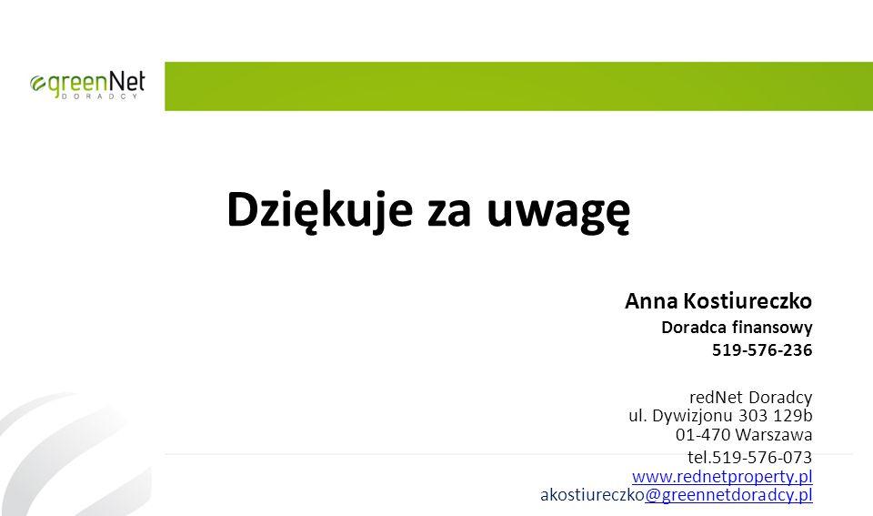 Dziękuje za uwagę Anna Kostiureczko Doradca finansowy 519-576-236