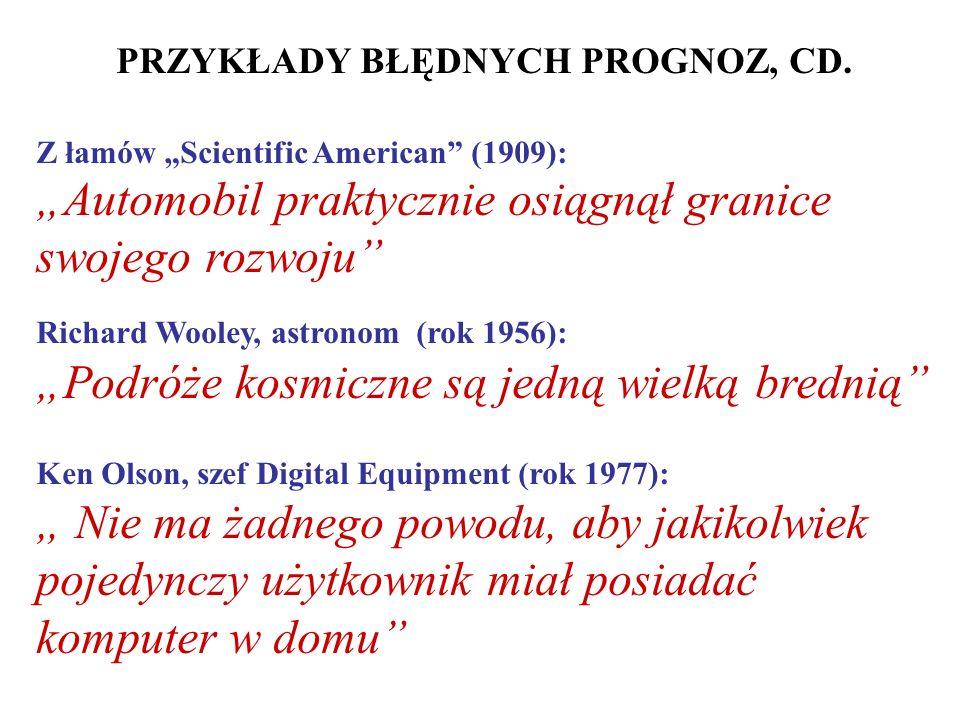 PRZYKŁADY BŁĘDNYCH PROGNOZ, CD.