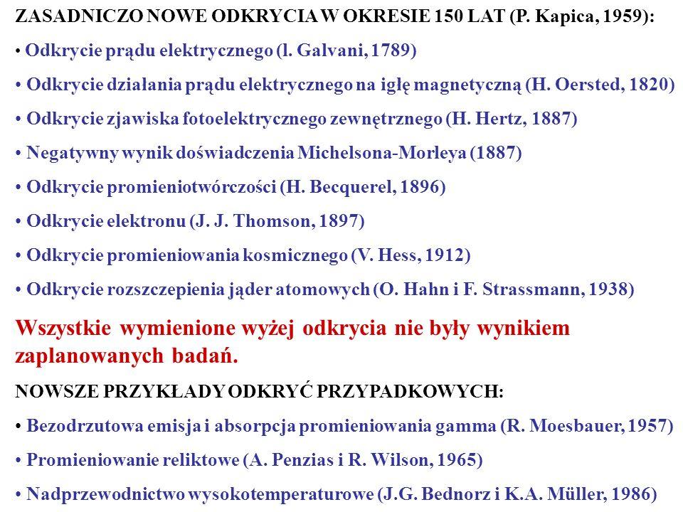 ZASADNICZO NOWE ODKRYCIA W OKRESIE 150 LAT (P. Kapica, 1959):