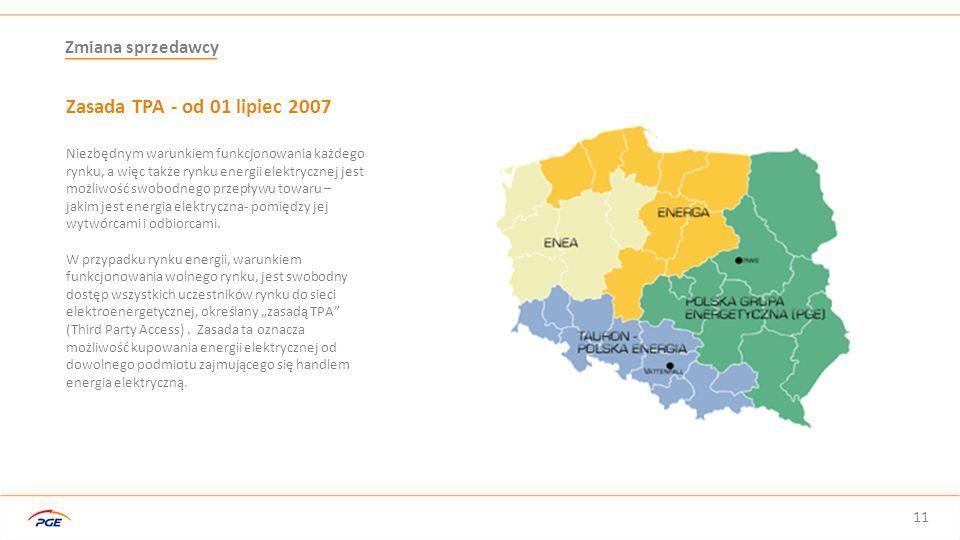 Zasada TPA - od 01 lipiec 2007 Zmiana sprzedawcy 11