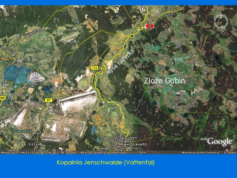Nysa Łużycka Złoże Gubin Kopalnia Jenschwalde (Vattenfal)
