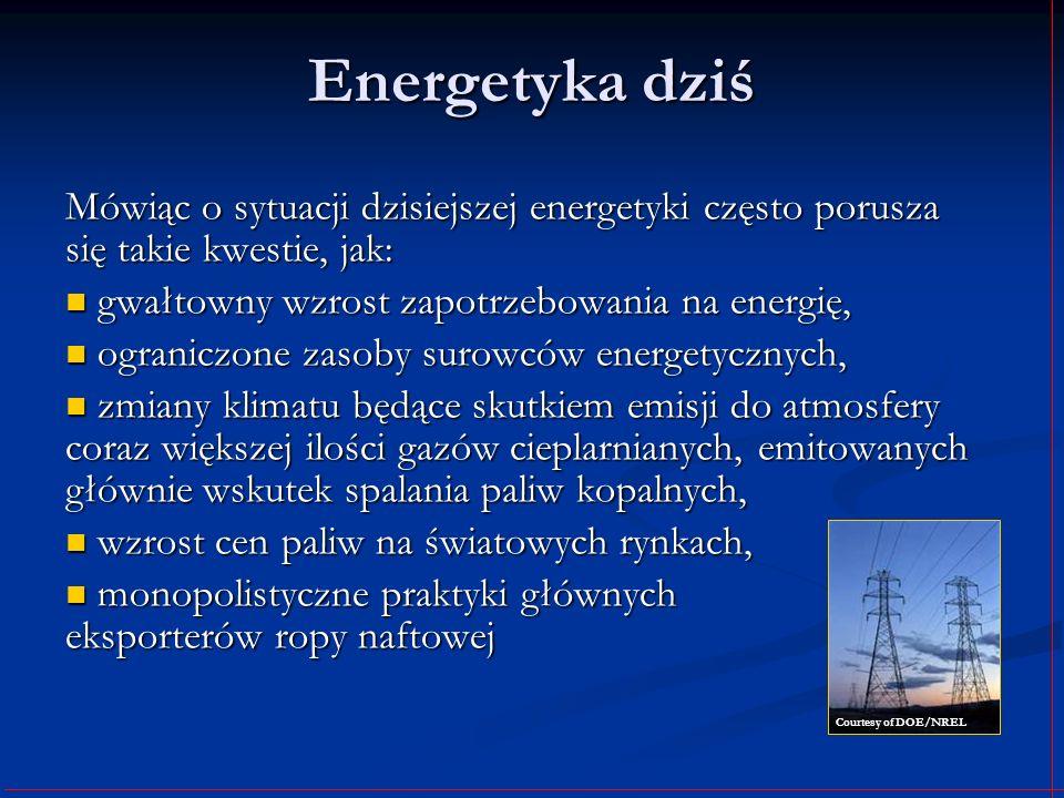 Energetyka dziś Mówiąc o sytuacji dzisiejszej energetyki często porusza się takie kwestie, jak: gwałtowny wzrost zapotrzebowania na energię,