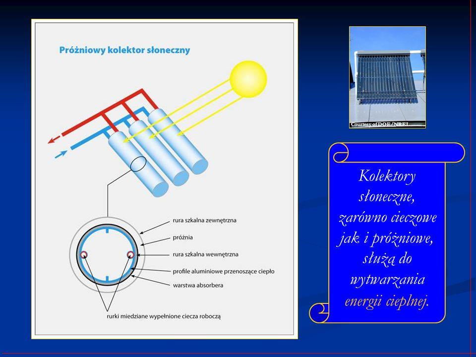 Courtesy of DOE/NREL Kolektory słoneczne, zarówno cieczowe jak i próżniowe, służą do wytwarzania energii cieplnej.