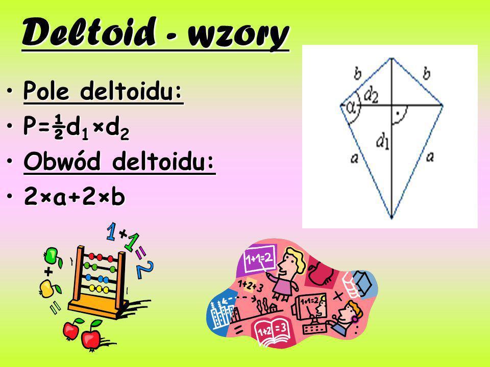 Deltoid - wzory Pole deltoidu: P=½d1×d2 Obwód deltoidu: 2×a+2×b