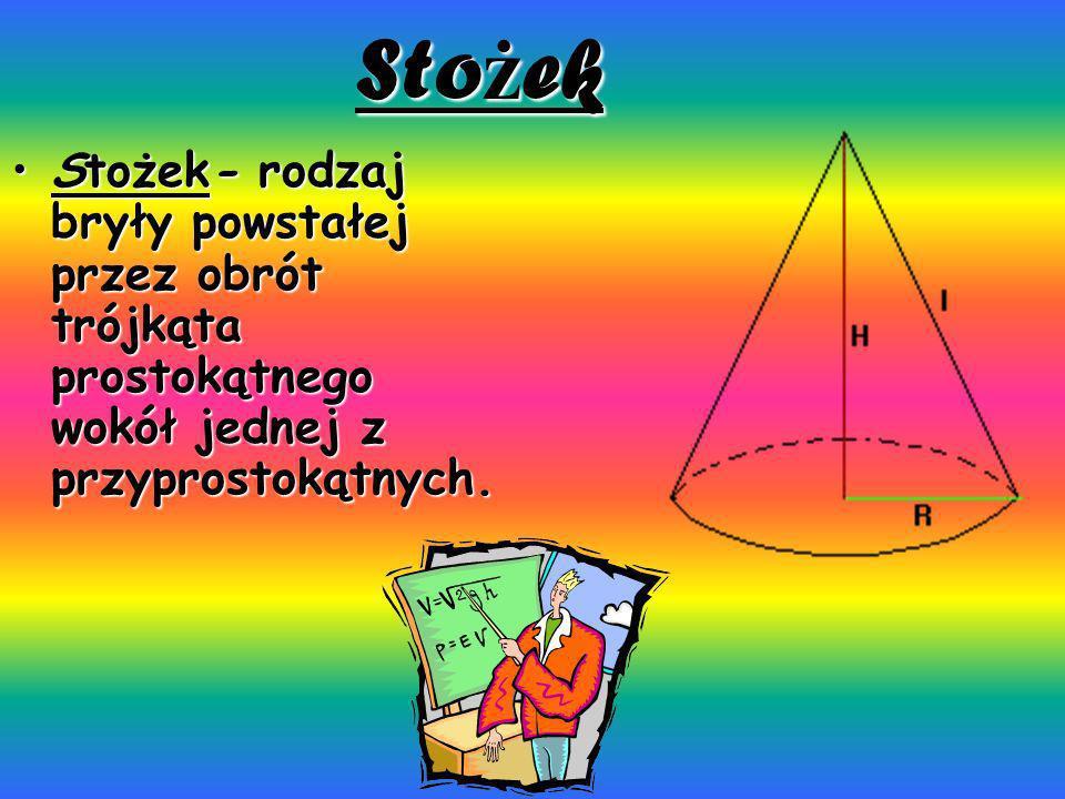 Stożek Stożek- rodzaj bryły powstałej przez obrót trójkąta prostokątnego wokół jednej z przyprostokątnych.