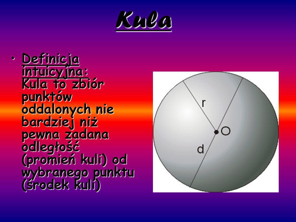 Kula Definicja intuicyjna: Kula to zbiór punktów oddalonych nie bardziej niż pewna zadana odległość (promień kuli) od wybranego punktu (środek kuli)