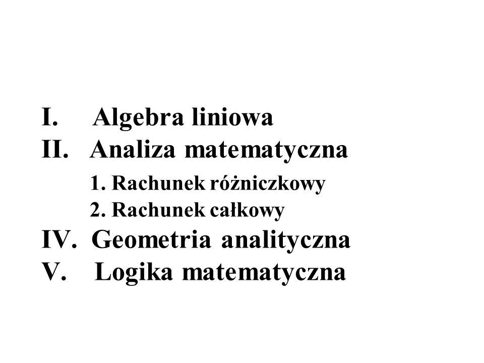 Algebra liniowa II. Analiza matematyczna. 1. Rachunek różniczkowy. 2