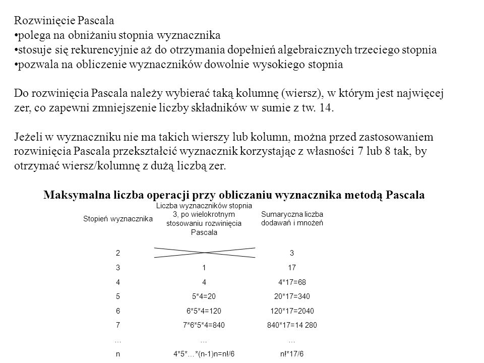 Maksymalna liczba operacji przy obliczaniu wyznacznika metodą Pascala