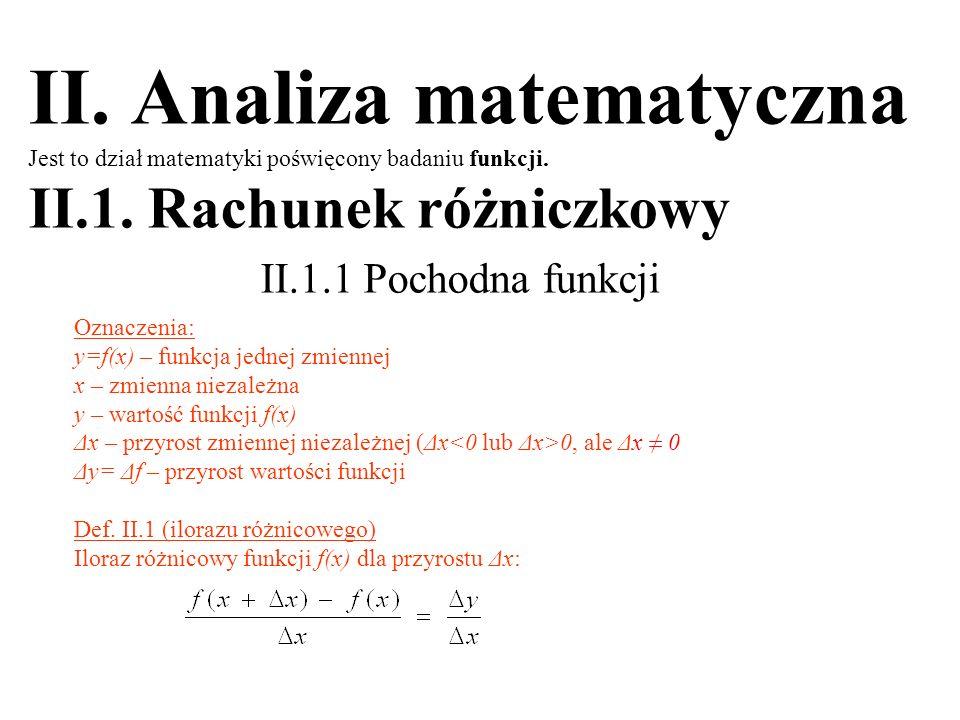 II. Analiza matematyczna Jest to dział matematyki poświęcony badaniu funkcji. II.1. Rachunek różniczkowy