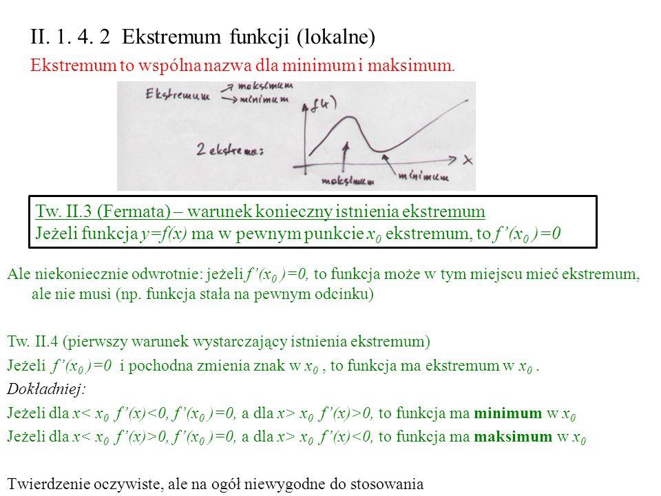 II. 1. 4. 2 Ekstremum funkcji (lokalne)