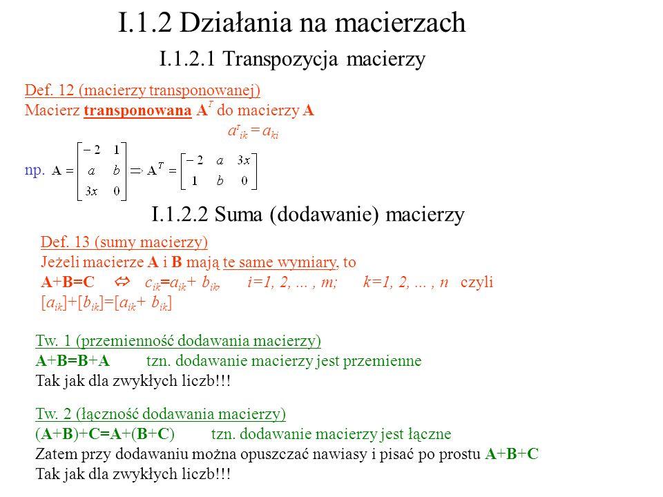 I.1.2 Działania na macierzach I.1.2.1 Transpozycja macierzy