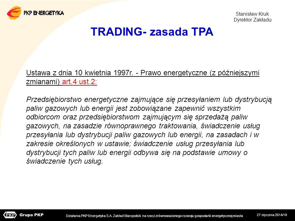 Stanisław Kruk Dyrektor Zakładu. TRADING- zasada TPA. Ustawa z dnia 10 kwietnia 1997r. - Prawo energetyczne (z późniejszymi.