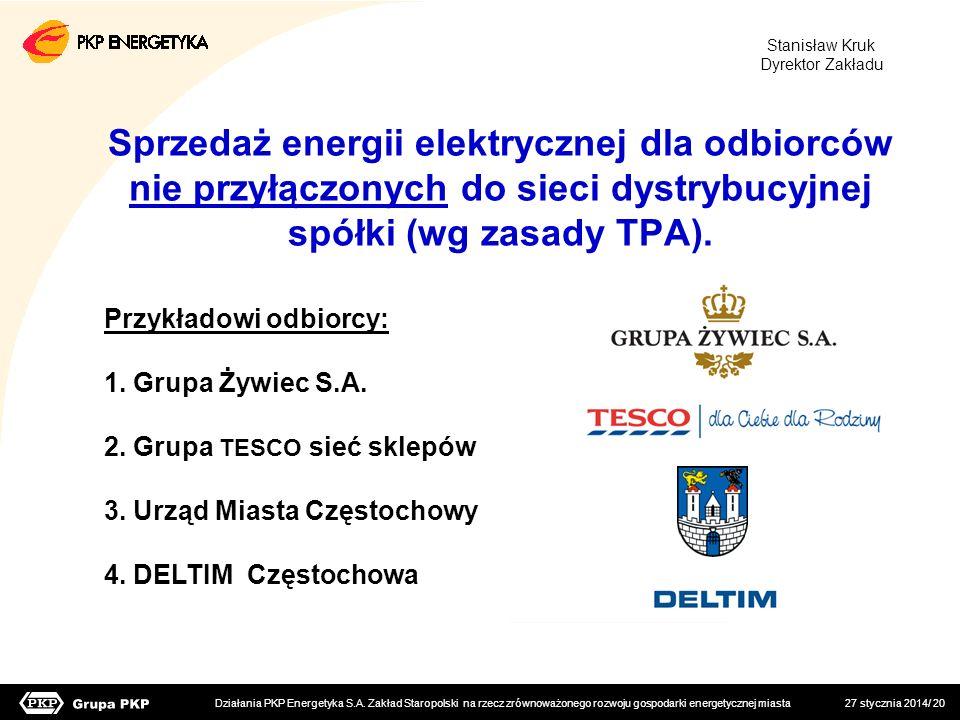Stanisław Kruk Dyrektor Zakładu. Sprzedaż energii elektrycznej dla odbiorców nie przyłączonych do sieci dystrybucyjnej spółki (wg zasady TPA).