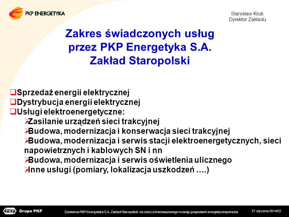 Zakres świadczonych usług przez PKP Energetyka S.A. Zakład Staropolski