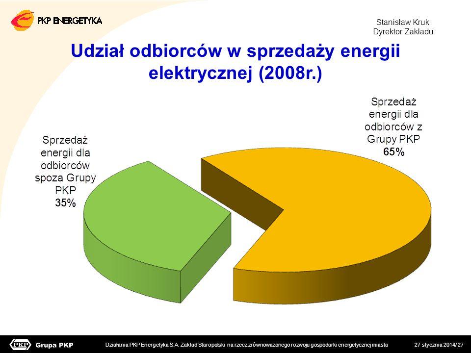 Udział odbiorców w sprzedaży energii elektrycznej (2008r.)