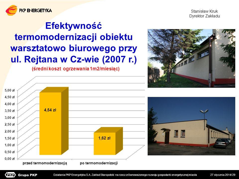 Stanisław Kruk Dyrektor Zakładu. Efektywność termomodernizacji obiektu warsztatowo biurowego przy ul. Rejtana w Cz-wie (2007 r.)