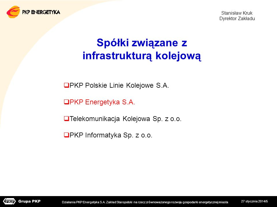Spółki związane z infrastrukturą kolejową