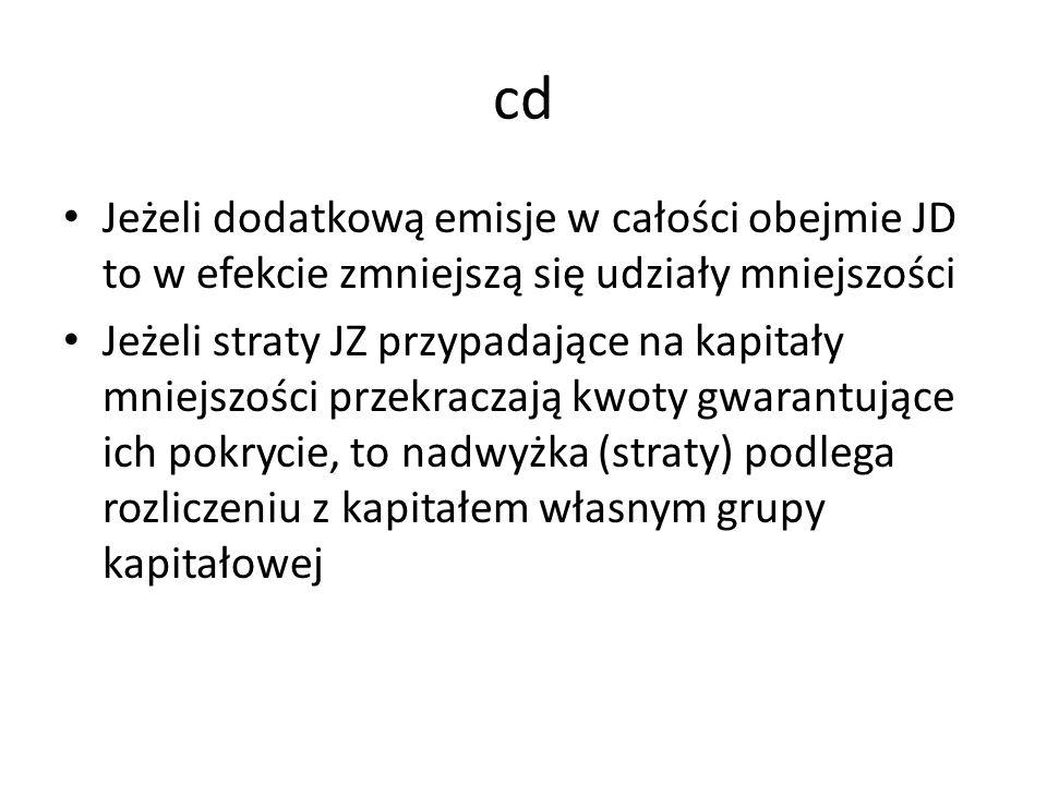 cd Jeżeli dodatkową emisje w całości obejmie JD to w efekcie zmniejszą się udziały mniejszości.