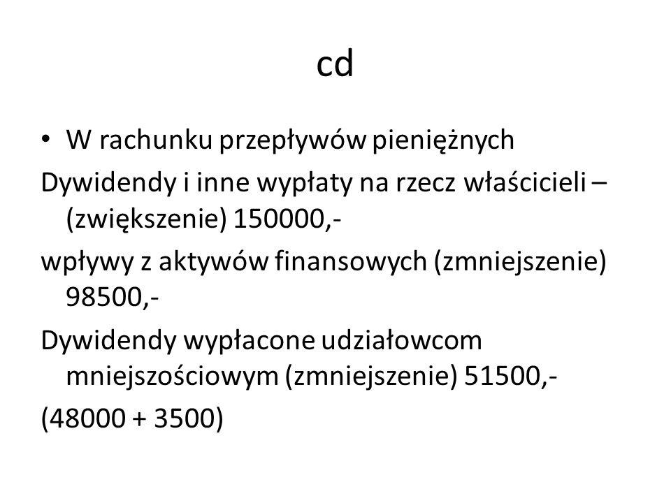 cd W rachunku przepływów pieniężnych