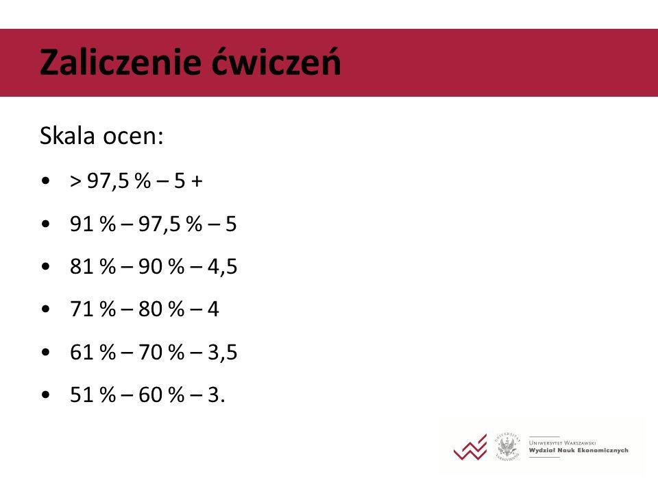 Zaliczenie ćwiczeń Skala ocen: > 97,5 % – 5 + 91 % – 97,5 % – 5
