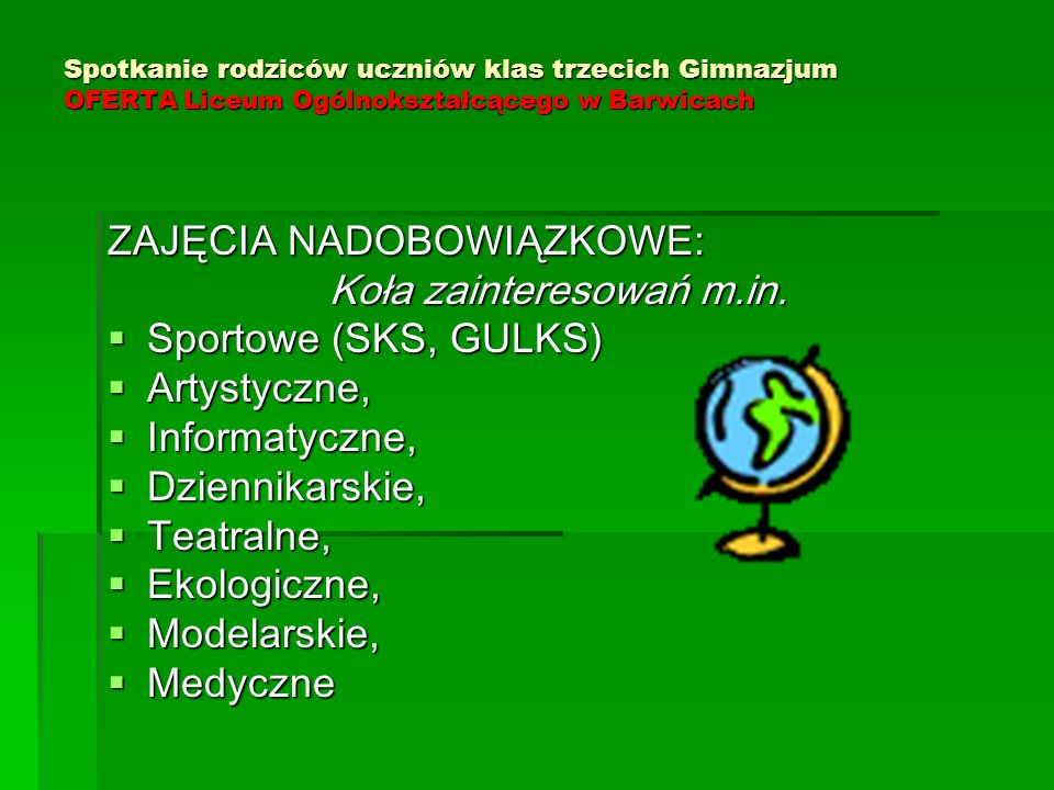 Koła zainteresowań m.in.