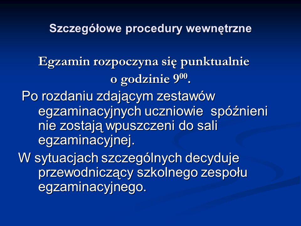 Szczegółowe procedury wewnętrzne