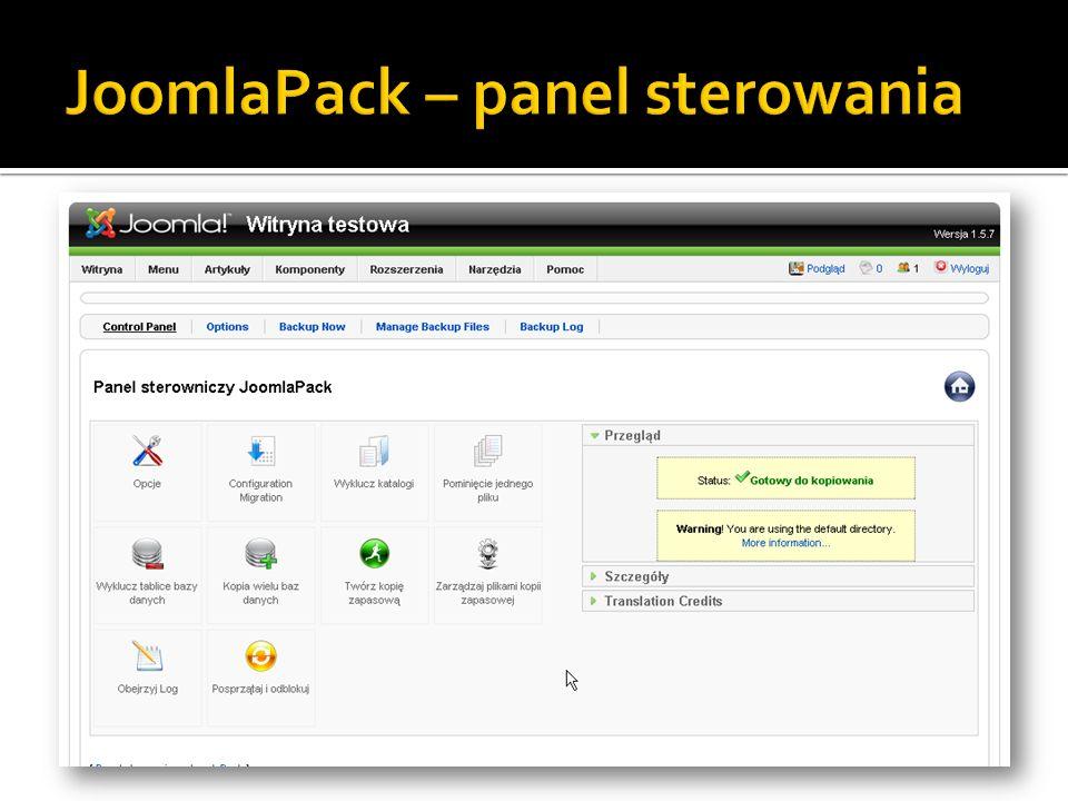 JoomlaPack – panel sterowania