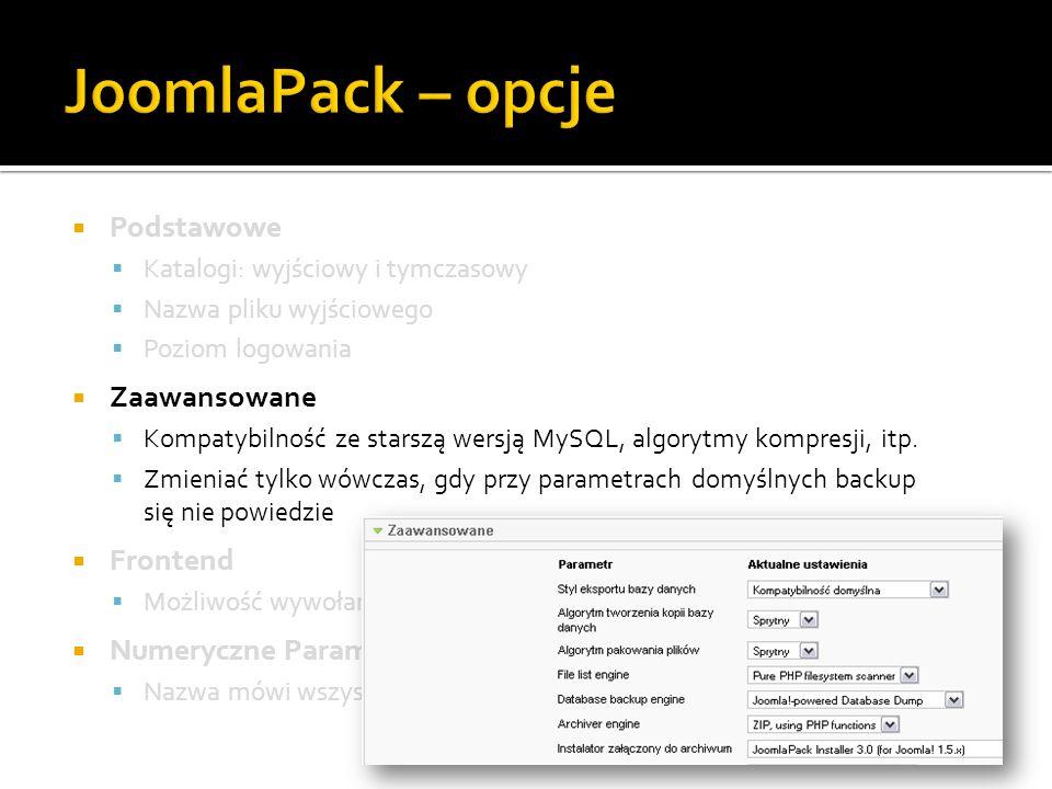 JoomlaPack – opcje Podstawowe Zaawansowane Frontend