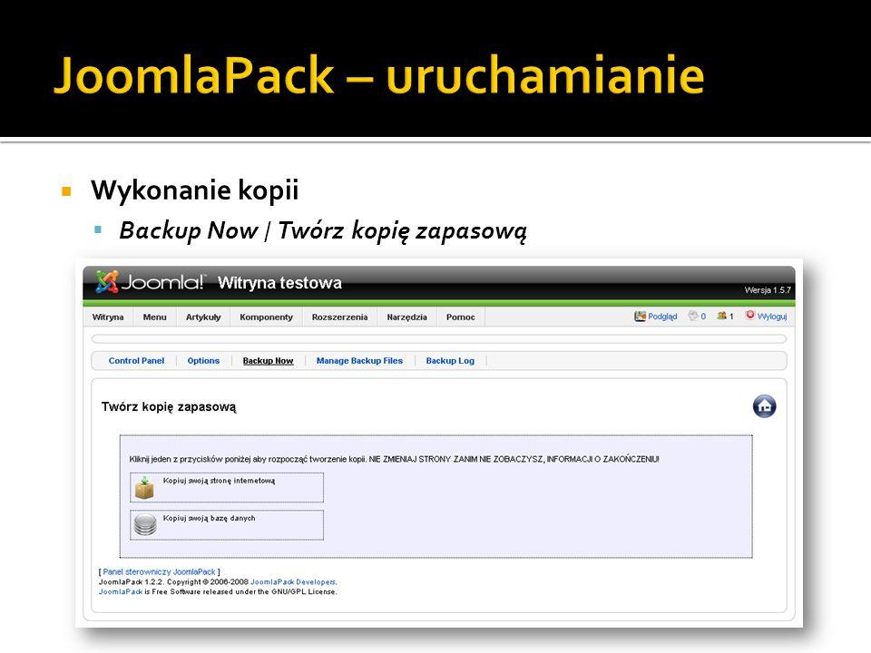 JoomlaPack – uruchamianie