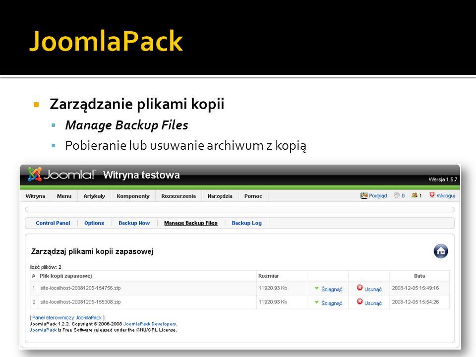 JoomlaPack Zarządzanie plikami kopii Manage Backup Files