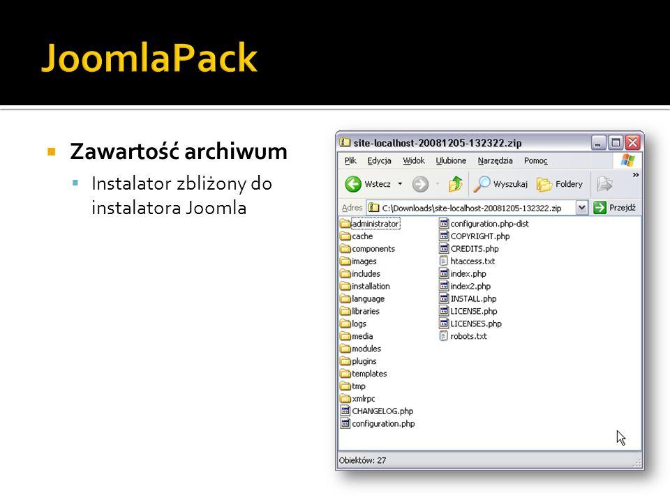 JoomlaPack Zawartość archiwum
