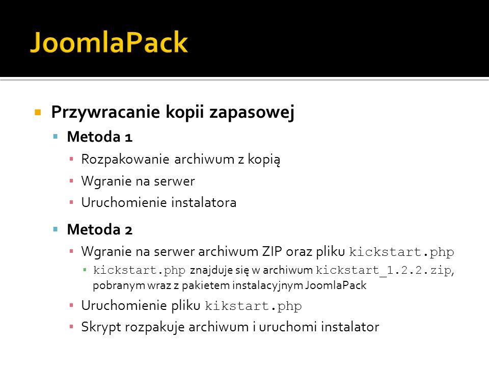 JoomlaPack Przywracanie kopii zapasowej Metoda 1 Metoda 2