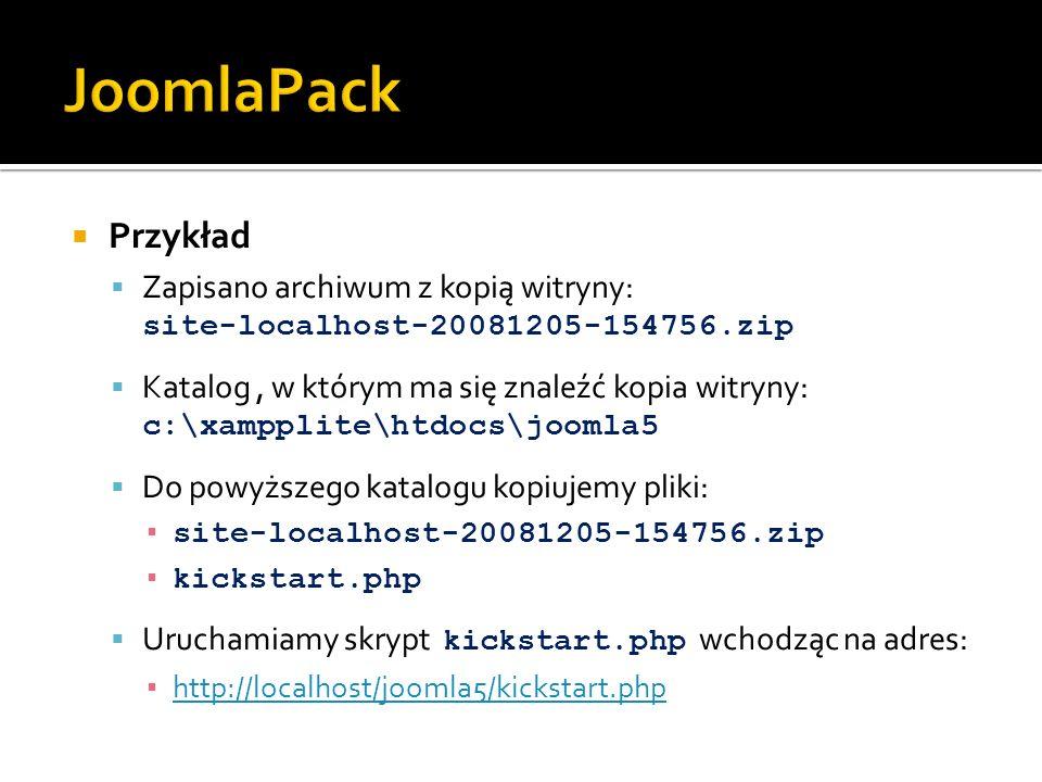 JoomlaPack Przykład. Zapisano archiwum z kopią witryny: site-localhost-20081205-154756.zip.