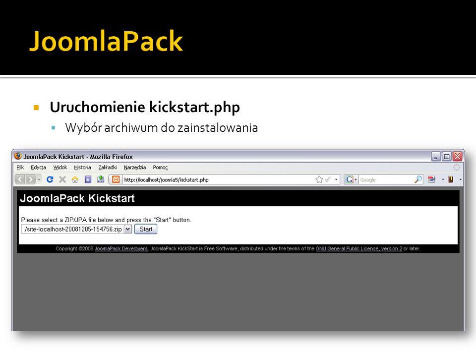 JoomlaPack Uruchomienie kickstart.php Wybór archiwum do zainstalowania