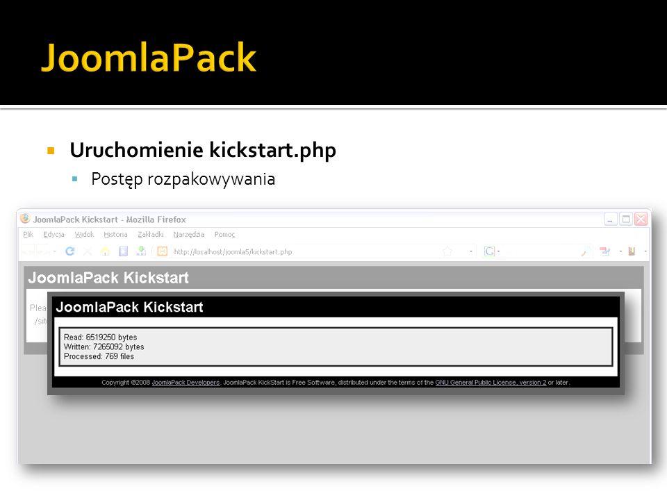 JoomlaPack Uruchomienie kickstart.php Postęp rozpakowywania