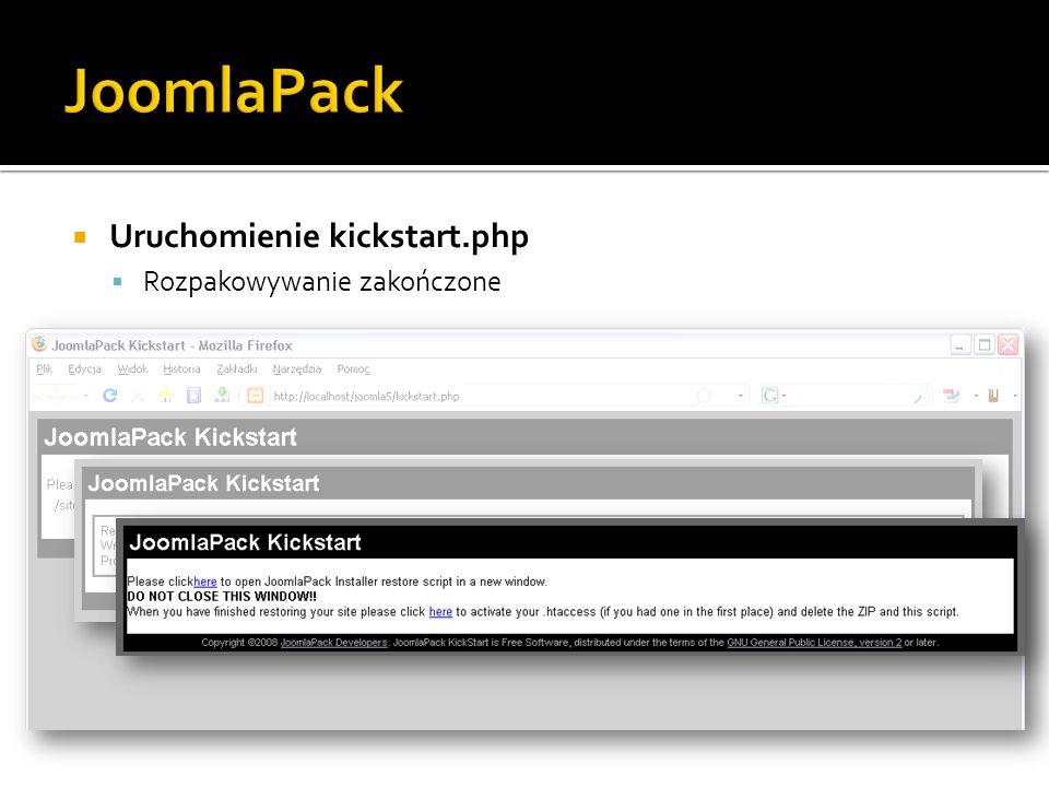 JoomlaPack Uruchomienie kickstart.php Rozpakowywanie zakończone