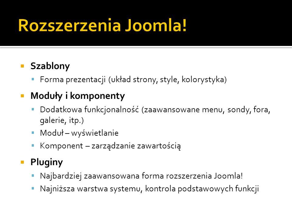 Rozszerzenia Joomla! Szablony Moduły i komponenty Pluginy