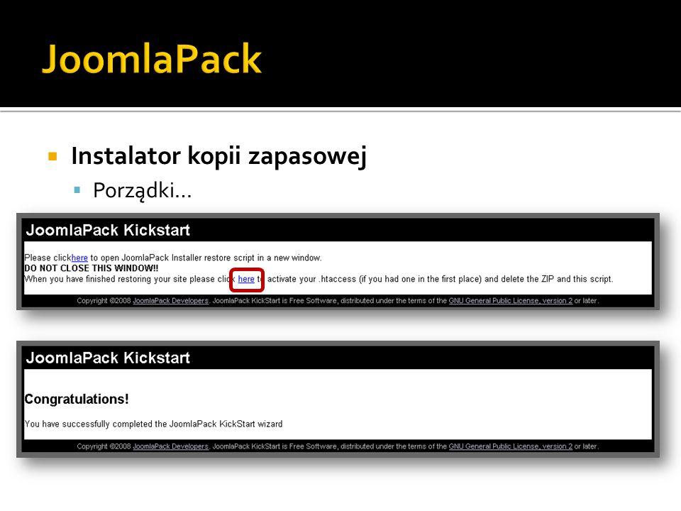 JoomlaPack Instalator kopii zapasowej Porządki…