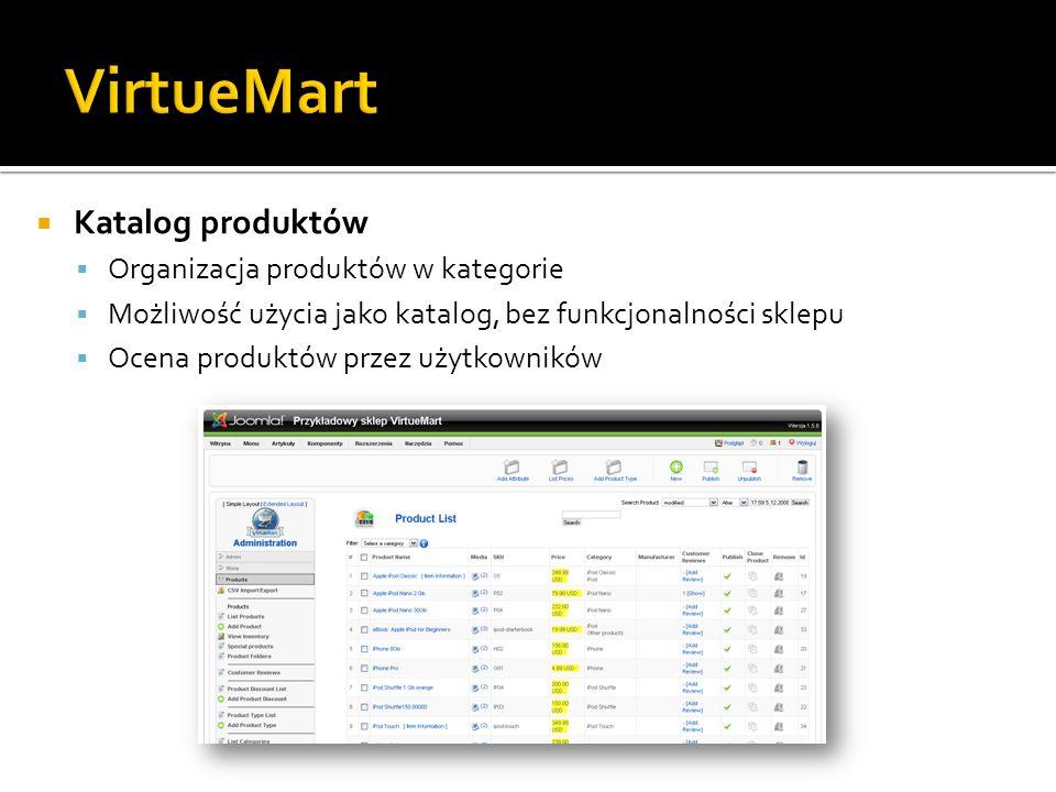 VirtueMart Katalog produktów Organizacja produktów w kategorie