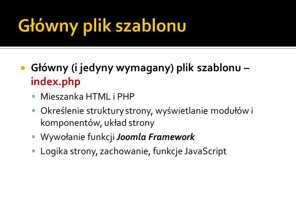 Główny plik szablonu Główny (i jedyny wymagany) plik szablonu – index.php. Mieszanka HTML i PHP.