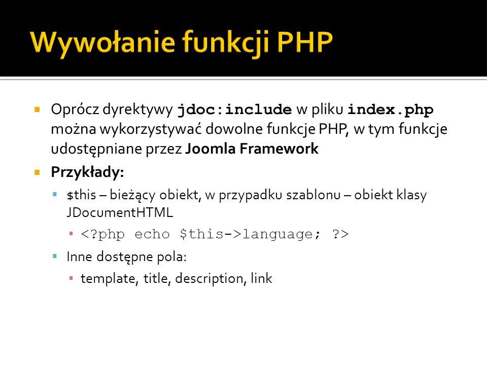Wywołanie funkcji PHP