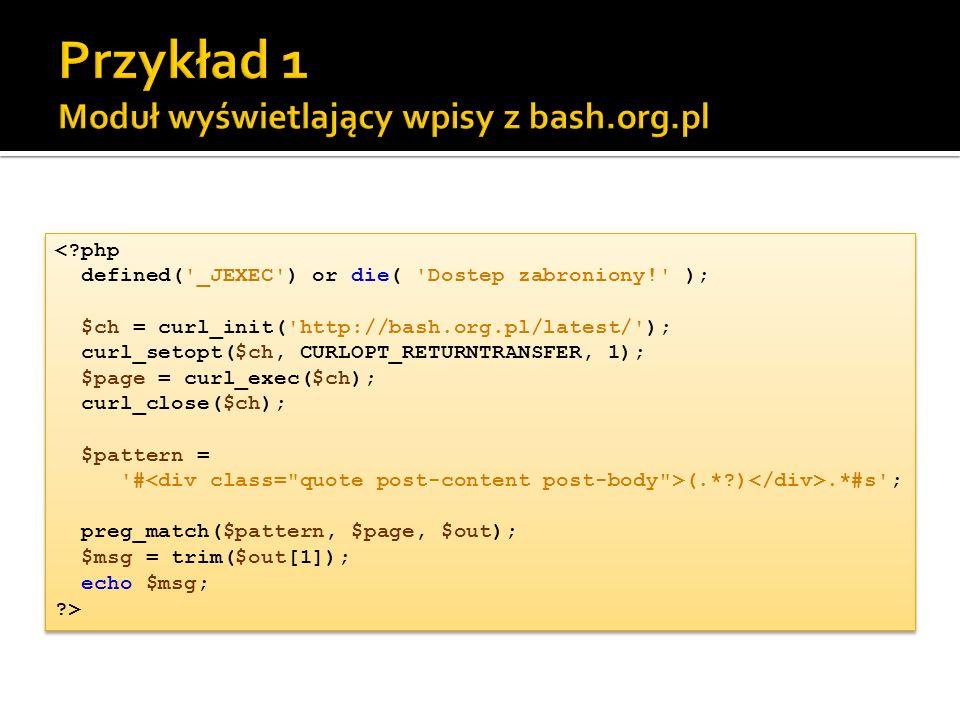 Przykład 1 Moduł wyświetlający wpisy z bash.org.pl