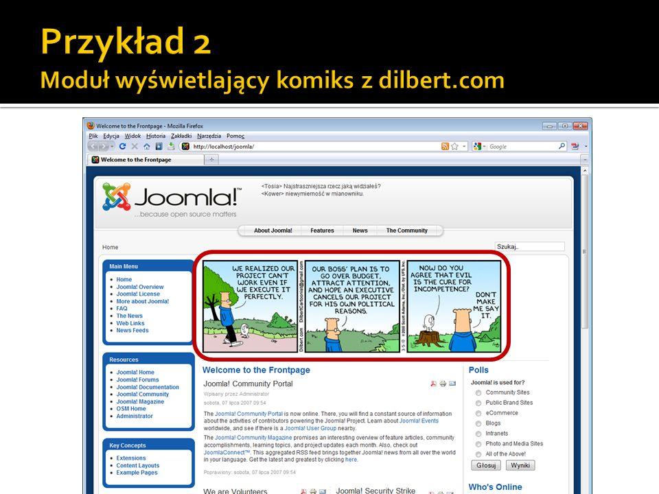 Przykład 2 Moduł wyświetlający komiks z dilbert.com