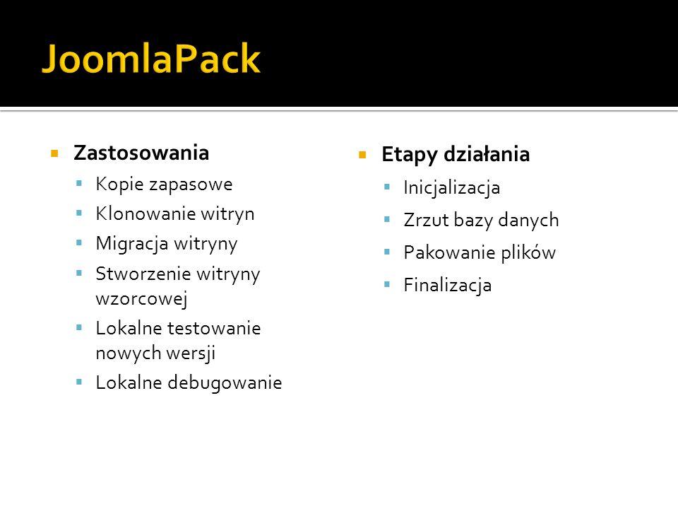 JoomlaPack Zastosowania Etapy działania Kopie zapasowe Inicjalizacja