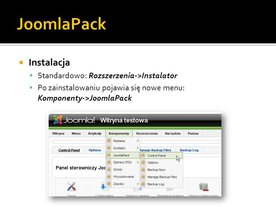 JoomlaPack Instalacja Standardowo: Rozszerzenia->Instalator